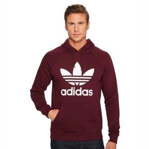 Men's Adidas Trefoil Hoodie Sweatshirt Maroon FIRM